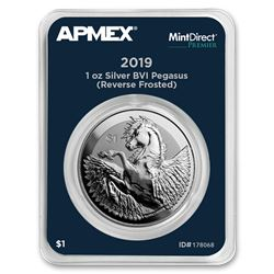 2019 BVI Silver 1 oz Pegasus Reverse Frosted (MD® Premier)