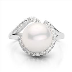 4.69 ctw Genuine Pearl, Amethyst and White Zircon .925 Sterling Silver Ring