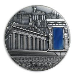 2018 Niue 2 oz Antique Silver Greece Imperial Art Coin
