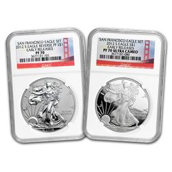 2012-S 2-Coin Proof Silver Eagle Set PF-70 NGC (ER\, 75th Anniv)