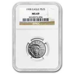 1998 1/4 oz Platinum American Eagle MS-69 NGC