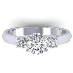 3 ctw VS/SI Diamond Art Deco 3 Stone Ring Band 18K Rose Gold