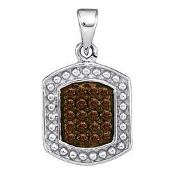 Sterling Silver Round Black Color Enhanced Diamond Cross Pendant 1/6 Cttw