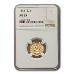 1855 $2.50 Liberty Gold Quarter Eagle AU-55 NGC