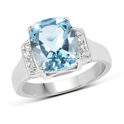 0.54 ctw Genuine Blue Diamond .925 Sterling Silver Ring