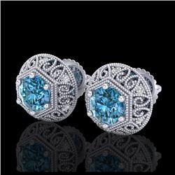 1.81 ctw VS/SI Diamond Art Deco 3 Stone Ring 18K White Gold