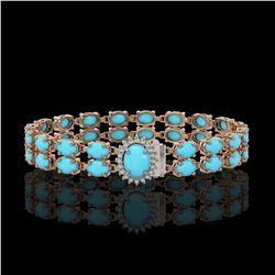 19.7 ctw Tourmaline & Diamond Halo Bracelet 10K Rose Gold
