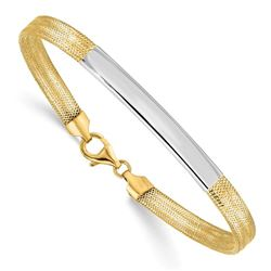 14K Two-tone Stretch Mesh Bracelet - 7.5 in.
