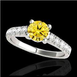 2.50 ctw Citrine & VS/SI Diamond Necklace 18K White Gold