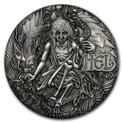 2017 Tuvalu 2 oz Silver Norse Goddesses: Hel BU (HR\, Antiqued)