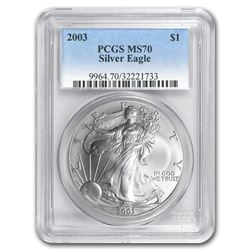 2003 Silver American Eagle MS-70 PCGS