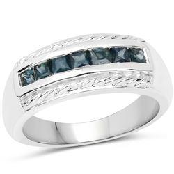 1.57 ctw Genuine Blue Diamond, White Diamond & Black Diamond .925 Sterling Silver Ring