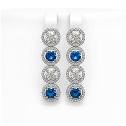 5.46 ctw Blue Sapphire & Diamond Earrings 18K White Gold