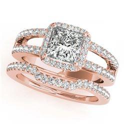 12.33 ctw Ruby & Diamond Halo Earrings Rose 10K Rose Gold