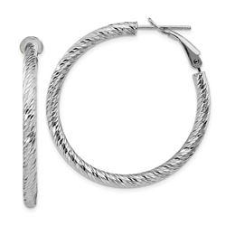 10k White Gold Round Omega Back Hoop Earrings - 30 mm