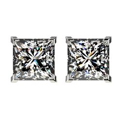 6.08 ctw Princess Diamond Earrings 18K White Gold