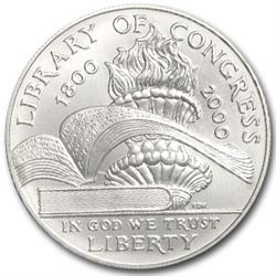 2000-P Library of Congress $1 Silver Commem BU (Capsule only)