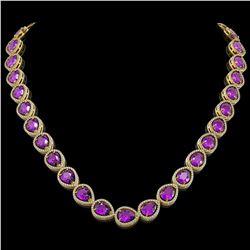 6 ctw Amethyst & VS/SI Diamond Necklace 14K Rose Gold
