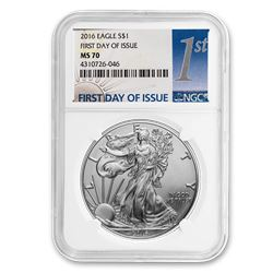 2016 Silver American Eagle MS-70 NGC (First Day of Issue)
