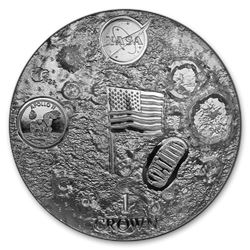 2019 Ascension Island 2 oz UHR Silver First Man on the Moon