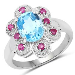1.65 ctw Genuine Tanzanite and White Topaz .925 Sterling Silver Ring