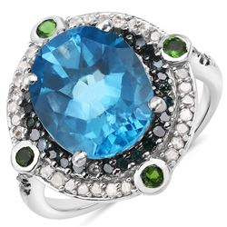 3.54 ctw Genuine Aquamarine, Ruby and White Topaz .925 Sterling Silver Ring