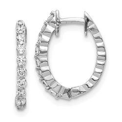 14k White Diamond Hinged Hoop Earring Mountings - 15 mm