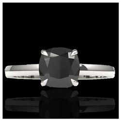 1.50 ctw Fancy Intense Blue Diamond Art Deco Earrings 18K White Gold