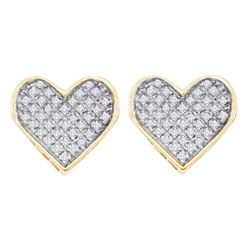 Yellow-tone Sterling Silver Round Diamond Flower Cluster Stud Earrings 1/6 Cttw