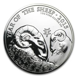 2015 Great Britain 1 oz Silver Year of the Sheep (Abrasions)