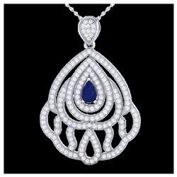 177 ctw London Blue Topaz & Diamond Necklace 14K White Gold