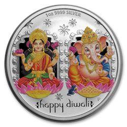 2019 Tuvalu 1 oz Silver $1 Diwali Medallion BU