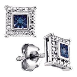 Sterling Silver Round Diamond Flower Cluster Stud Earrings 1/6 Cttw
