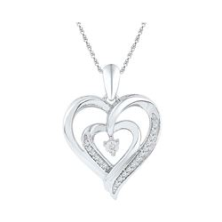 Sterling Silver Round Diamond Heart Pendant .02 Cttw