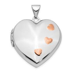 14k White Gold w/ Rose Rhodium Heart Locket Pendant - 28 mm