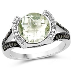 2.74 ctw Genuine Emerald and White Topaz .925 Sterling Silver Ring