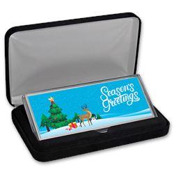 4 oz Silver Colorized Bar - Season's Greetings\, Winter Scene