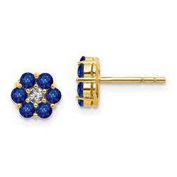14k Yellow Gold Sapphire & Diamond Flower Post Earrings - 6 mm