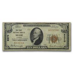 1929 Type 1 $10 Miami\, FL Very Fine (CH#6370)