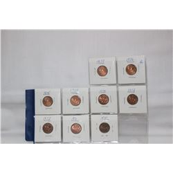 Canada One Cent Coins (9)