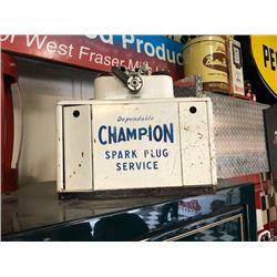 NO RESERVE VINTAGE CHAMPION SPARK PLUG SERVICE DISPLAY CABINET