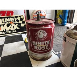 NO RESERVE RARE VINTAGE LARGE WHITE ROSE GAS CAN