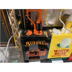 NO RESERVE CUSTOM COLLECTIBLE BUFFALO MOTOR OIL GAS PUMP MADE IN CANADA