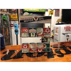 NO RESERVE RARE VINTAGE MOTOR OIL CANS WITH STAND