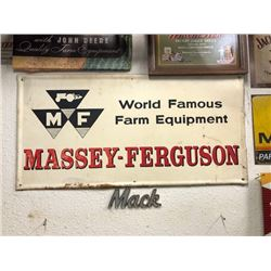 NO RESERVE VINTAGE MASSEY FERGUSON LARGE STEEL SIGN WORLD FAMOUS FARM EQUIPMENT COLLECTIBLE