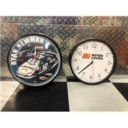 NO RESERVE RYAN NEWMAN NASCAR CLOCK AND MOTION CANADA CLOCK SELLING AS ONE LOT