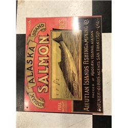 NO RESERVE ALASKA SALMON FISHING AND MINING COLLECTIBLE SIGN
