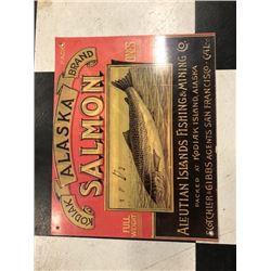 NO RESERVE ALASKA SALMON FISHING AND MINING COLLECTIBLE SIGN