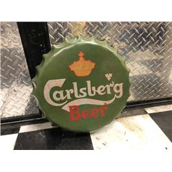 NO RESERVE CARLSBERG BEER CAP COLLECTIBLE SIGN