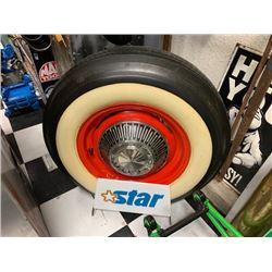 NO RESERVE CLASSIC WHEEL STAND WITH ORIGINAL FORD WHEEL AND HUBCAP WITH ORIGINAL WIDE WIDE BIAS PLY